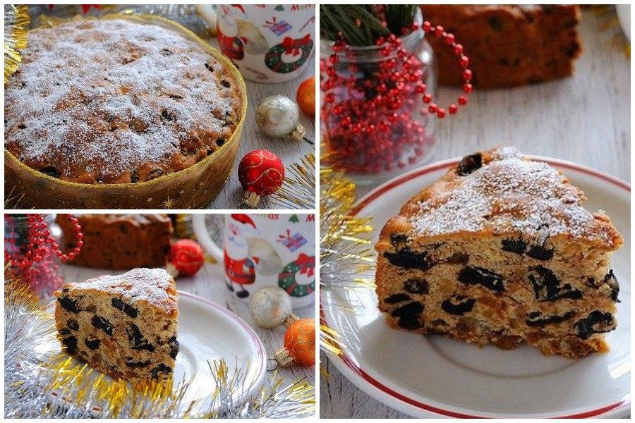 Рождественский кекс с орехами, сухофруктами и апельсиновой цедрой