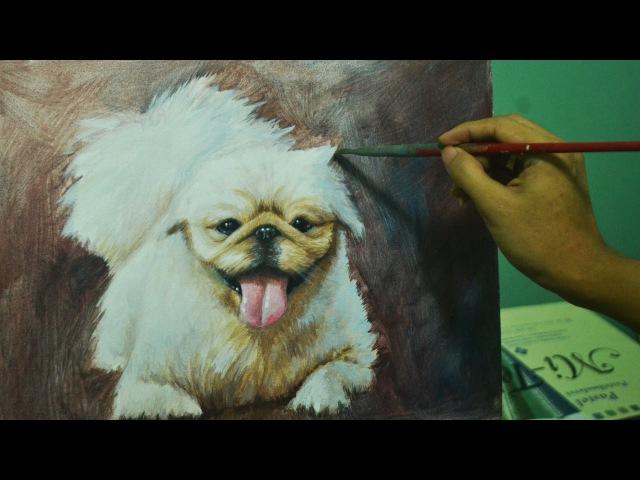 Acrylic Painting Lesson - Dog Portrait Pekingese by JMLisondra