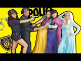 Frozen Elsa, Anna and Snow White Arrested in Jail by the Police for a party of magic   in 4K