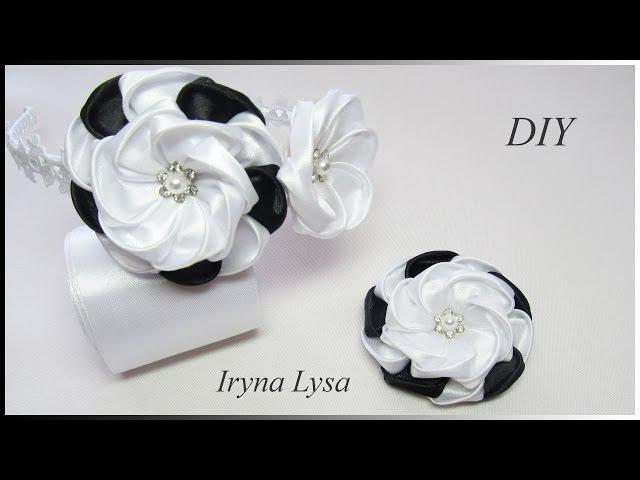 Ободок и зажим для волос в школу мк канзаши/flower with ribbon/DIY