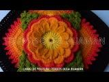 muestra para colcha a crochet FLOR DE TRES CAPAS CON HOJAS video 1