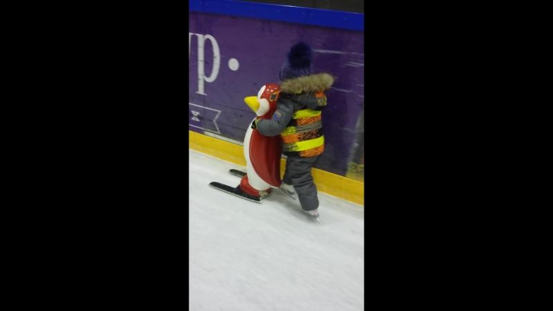 сын впервые на коньках