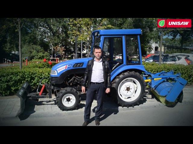 Это универсальный дизельный трактор! MasterYard M244 4WD (с кабиной) с отвалом и щеткой