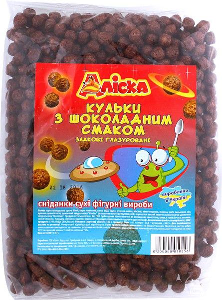 Кульки з шоколадним смаком злакові глазуровані, Аліска, 250 г