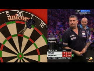 Phil Taylor vs Gary Anderson (2016 Premier League Darts / Semi Final)