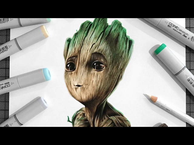 Drawing Baby Groot - Guardians of the Galaxy Vol. 2
