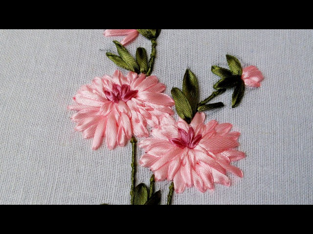 Hand Stitch and Flower | Beautiful Ribbon Design | HandiWorks 49