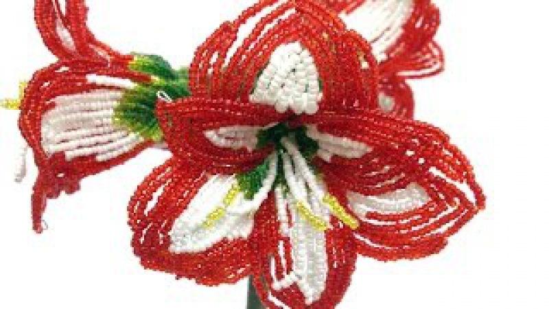 МК: ГИППЕРАСТРУМ / АМАРИЛЛИС из бисера. Часть 3/5. Tutorial: AMARYLLIS out of beads