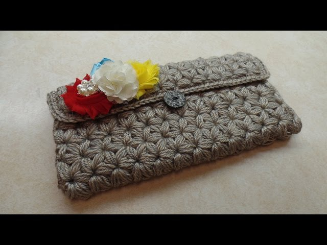 CROCHET How To Crochet Puffed Star Stitch Clutch Wallet Purse TUTORIAL 304 LEARN CROCHET