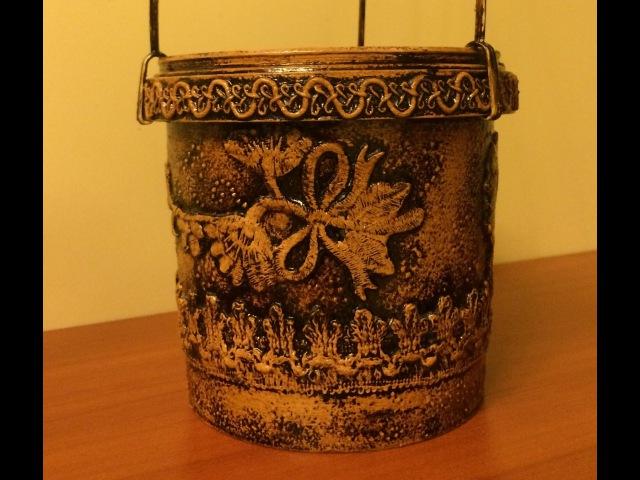 Цветочный горшок из майонезной банки .Diy. (Flower pots of mayonnaise jars).