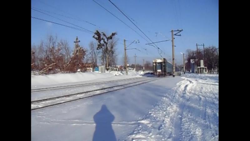 Электровоз ЧС2 с пассажирским поездом на перегоне Покотиловка Харьков Пассажирский недалеко от платформы Карачёвка