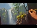 Acrylic Landscape Painting Lesson House Beside the Waterfalls by JMLisondra