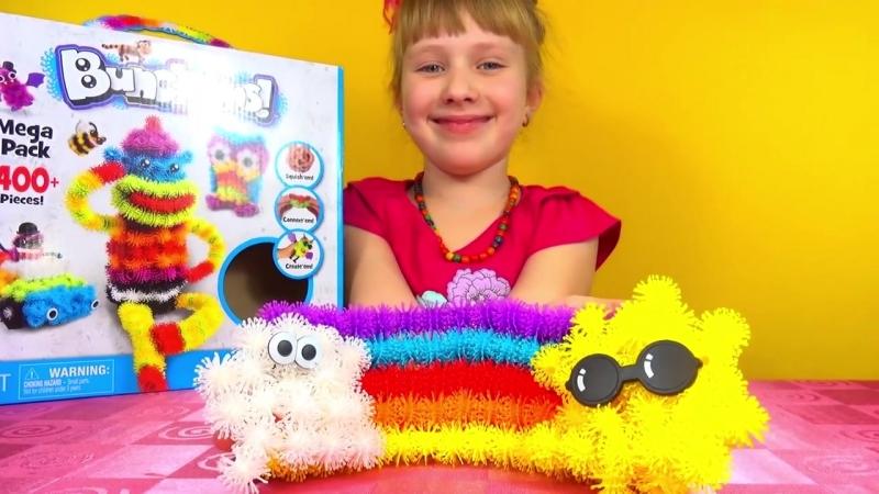 Конструктор репейник Бунчемс Bunchems MEGA 400 Pack DIY Rainbow Animals Disney Monsters Monkeys