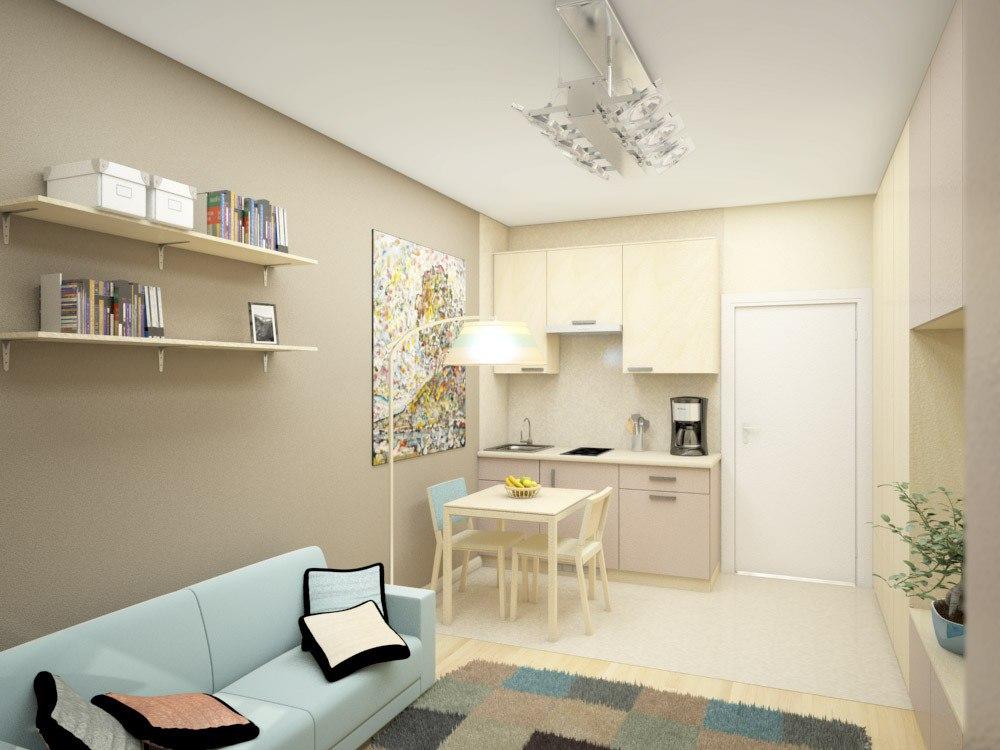 Проект кухни-гостиной без метража от застройщика Союз Инвест Девелопмент, Санкт-Петербург.