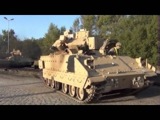 American tanks M1A2 Abrams s M2 Bradley in Europe