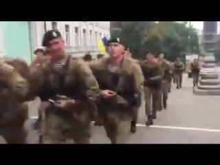 После парада украинские морпехи зажгли Киев патриотическими речевками. Такие не отступят!