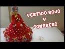 Vestido Rojo y Sombrero a crochet para Muñeca
