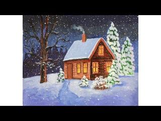 Уроки рисования. Как нарисовать зиму гуашью how to draw a winter scene