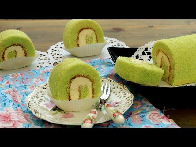 How To Make Chinese Bakery Pandan Swiss Roll Cake | 班兰瑞士蛋糕卷