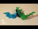 Оригами Летучая мышь из бумаги, которая машет крыльями