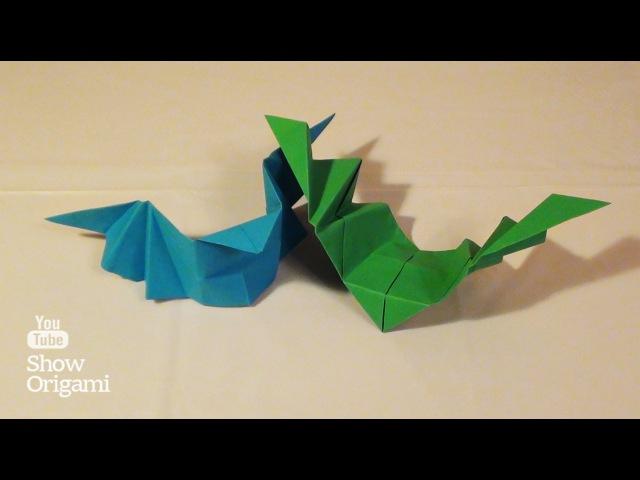 Оригами: Летучая мышь из бумаги, которая машет крыльями