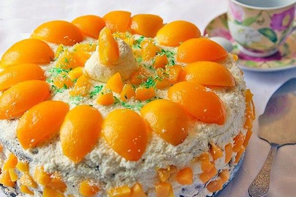 Торт с персиками рецепт в домашних условиях