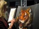 Leah Gall, Airbrush Artist, paints for SATA @ autobody EXPO