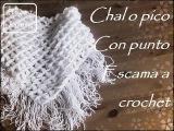 Chal o pico a crochet con punto escama (zurdo)
