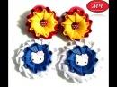 МК Резиночки зефирки Канзаши Цветы из ткани DIY Ribbon flowers