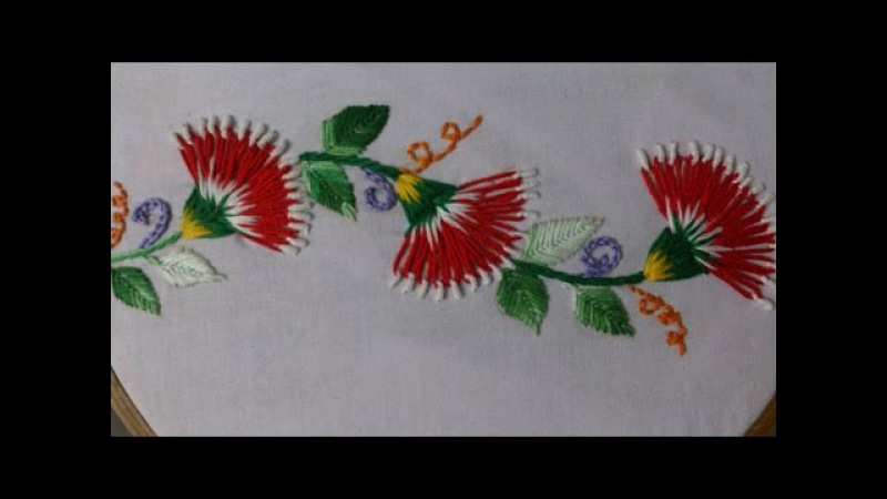 Hand embroidery stitches tutorial. Embroidery design for cushion covers.