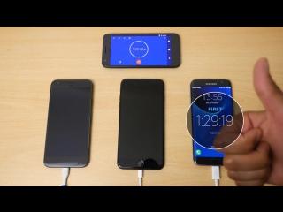 Pixel XL vs iPhone 7 Plus vs Galaxy S7 Edge - Battery Charging Speed Test