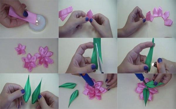Как сделать цветы из ленты канзаши своими руками пошагово 90