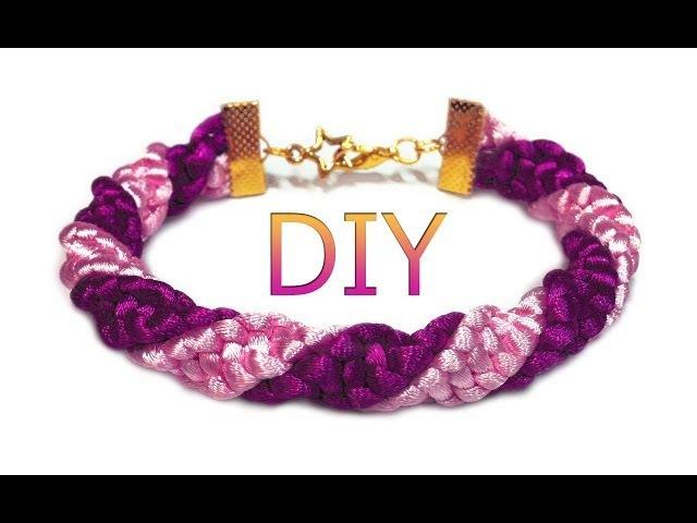 DIY: Spiral macrame bracelet / Спиральный макраме браслет (жгут)