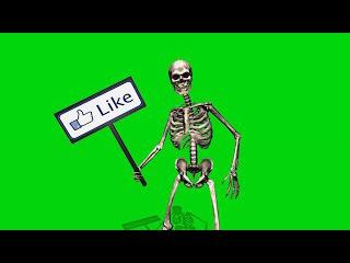 Caveira com Placas de Like #1 [Fundo Verde - Green Screen]