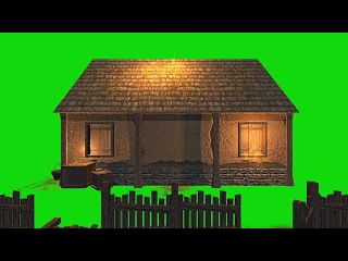 Casa em Chamas #1 - House in Flames #1 [Fundo Verde - Green Screen]