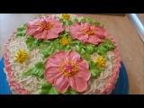 ТОРТ бисквит НА желтках Рецепт КРЕМА ПЛОМБИР украшаем торт белково заварным кр ...