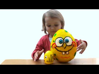 Губка Боб огромное яйцо с сюрпризом открываем игрушки Spongbob énorme oeuf jouets