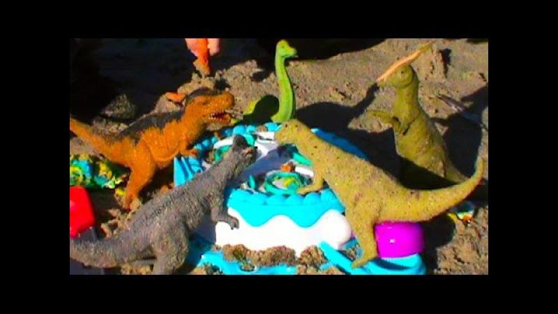 Динозавры на русском кормим тестом для лепки Плэй До Play Doh रूसी फ़ीड मॉडलि...