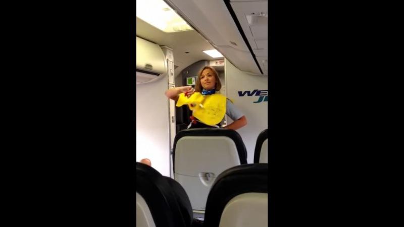 Прикольная стюардесса перед полётом