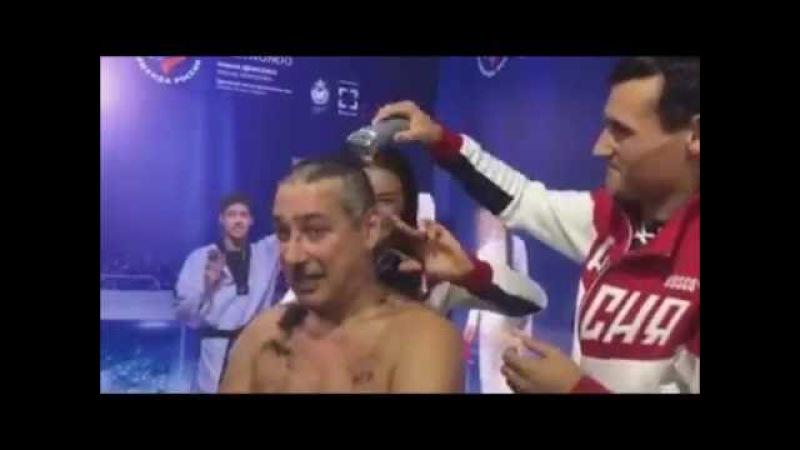 Тренера по фехтованию побрили наголо.Полное видео.Олимпиада в Рио 2016