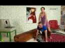 Sexy woman ponyrides man in a german show