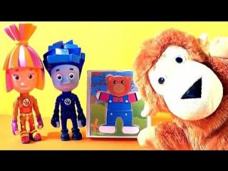 Мультик Фиксики игрушки и обезьянка Чико. Fixiki