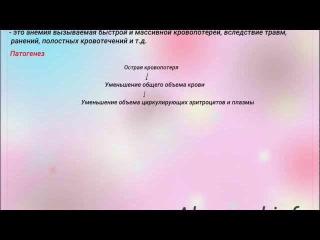 Постгеморрагическая анемия Острая и хроническая Патогенез Степени тяжести