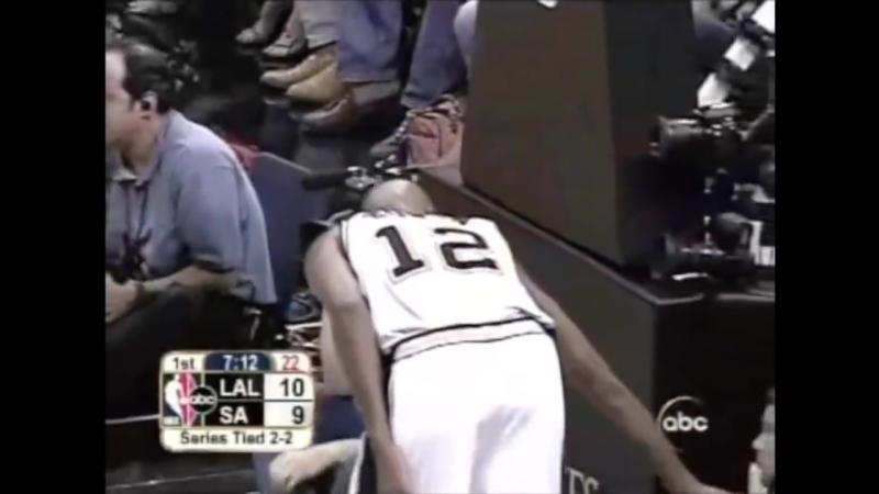 Защита Брюса Боуэна против Коби Брайанта в пятой игре финала конференции в 2004 году с Lakers