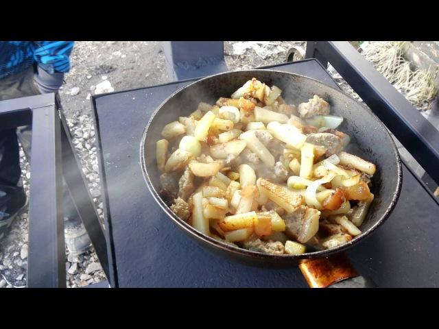 Мангал под крышей Тайфун-2 испытания 2 часть. Жареный картофель.