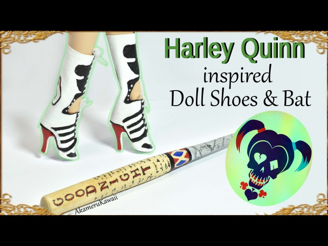 DIY Barbie / Doll Harley Quinn inspired shoes / boots bat