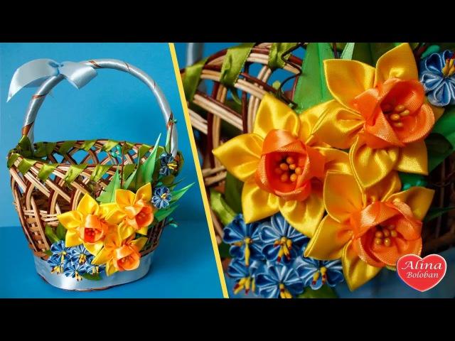 Пасхальная Корзина Канзаши Нарцисс Канзаши Easter basket DIY