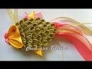 Елочная игрушка Золотая рыбка из атласных лент своими руками мастер класс новог