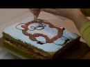 украшаем торт кремом.детский торт _Винни пух_ - YouTube [360p]