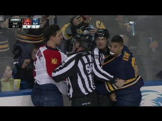 Evander Kane and Alex Petrovic fight 3 times in the same game Feb 9 2016
